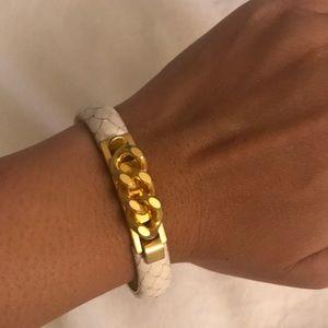 Vita Fede White Snake Skin Gold Plated Bracelet